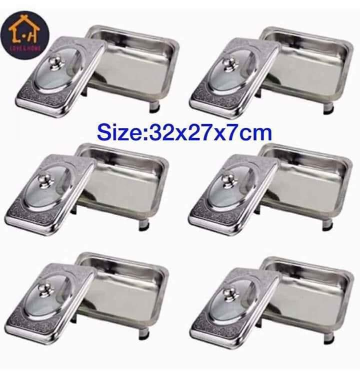Tongs Set Of 6 Rectangular Food Warmer With Pattern Design Cover (silver) By Tongs Store.