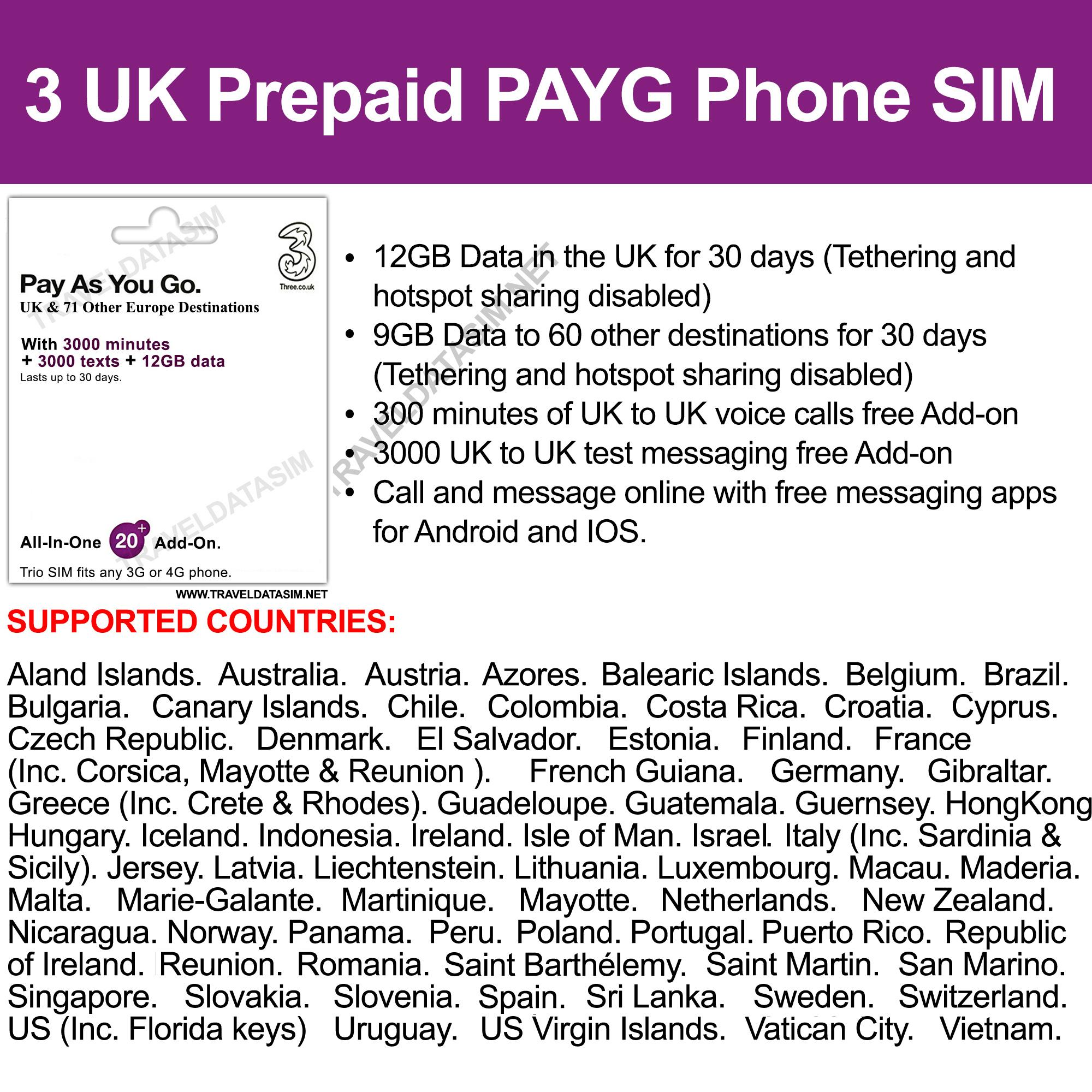 TDSIM Pay As You Go Travel Data Sim 12GB in UK or 9GB to Europe and 72  other destinations Europe , World Data Roaming Sim , Data Sim Card Travel  Sim