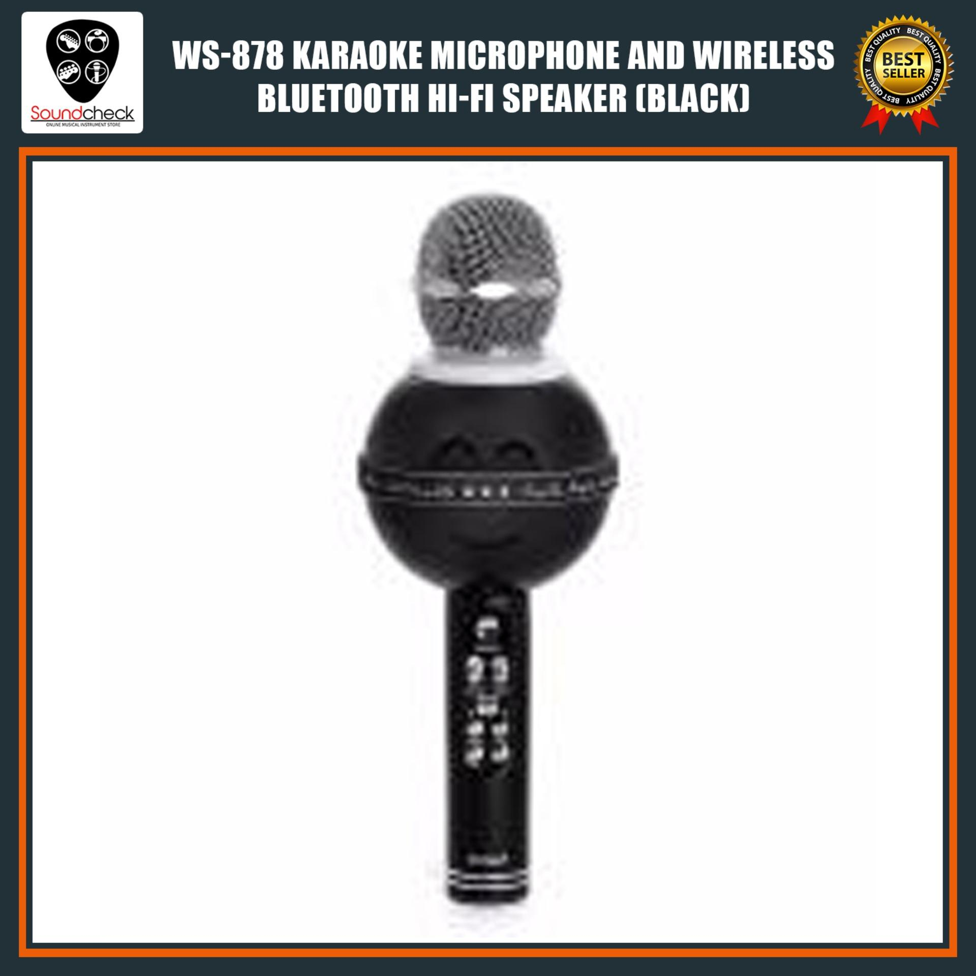 WS-878 Karaoke Microphone and Wireless Bluetooth Hi-Fi Speaker (Black)