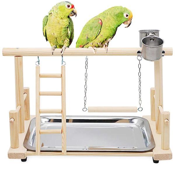 HULUSHA Conure Lovebirds Đồ Chơi Xích Đu Tương Tác Huấn Luyện Thú Cưng Thoải Mái, Cá Rô Sân Chơi Cho Chim, Giá Gỗ Cho Vẹt Thang Leo Núi