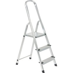 Sure Step FT-3 Aluminum 3-Step Ladder with Handrail (Stainless)