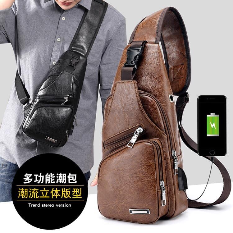 Crossbody Bags Chest Bags USB Charging Sling bags Lightweight Daypacks  Casual Backpacks PU Leather Messenger Bags e727c327974b3