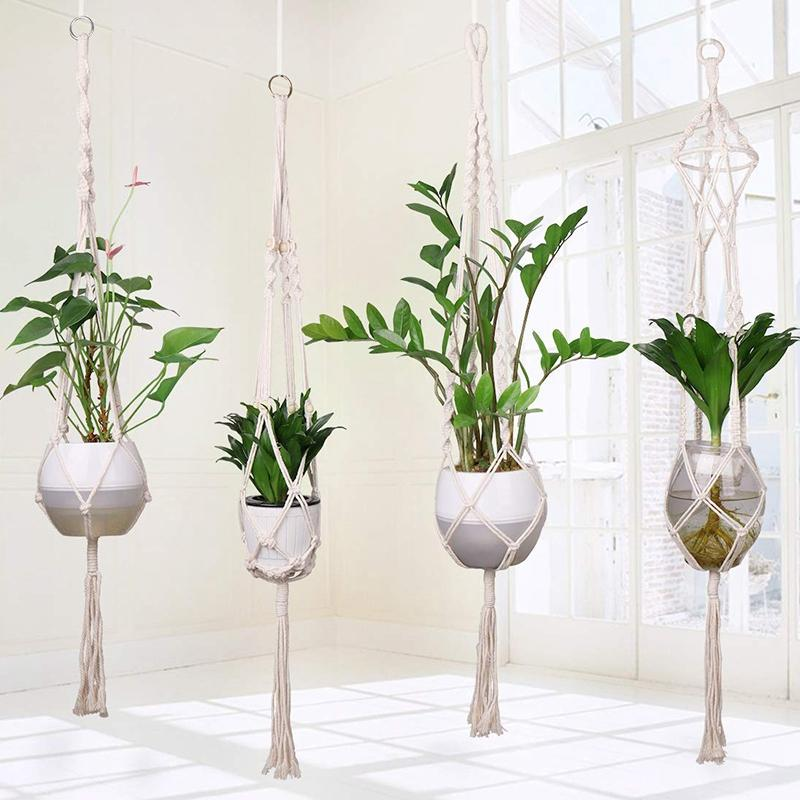 4Pcs Macrame Plant Hanger Handmade Woven Cotton Plant Holder Wall Hanging Planter Basket for Indoor Outdoor Garden Patio Balcony Ceiling Decorations, 4 Legs 40 Inch