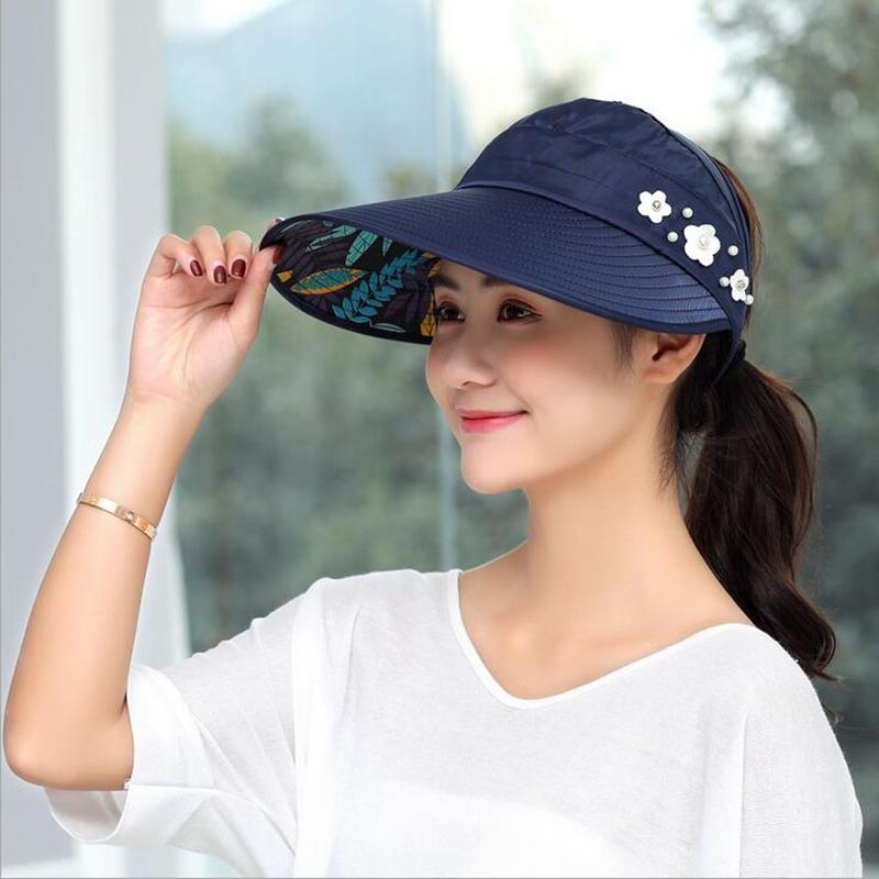 420d0023d24e2 COD Hot Women summer Sun Hats with big heads Sun Visor HatsCasual Folding  Wide Summer Beach