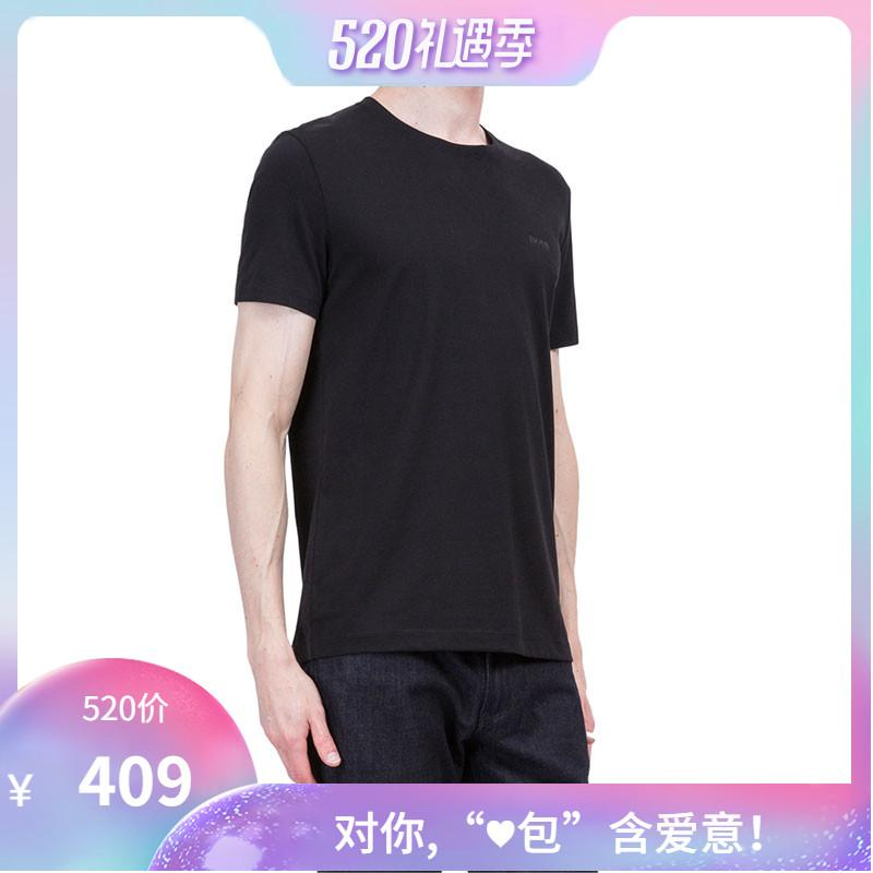 84874f4c3 Goods Hugo Boss/Hugo Boss Black Logo Men's round Neck T-shirt Pure Cotton