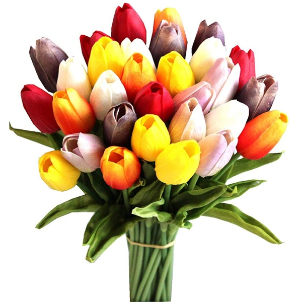 30Pcs Multicolored 14 Inch Silk Artificial Tulips Flowers for Party Home Decoration