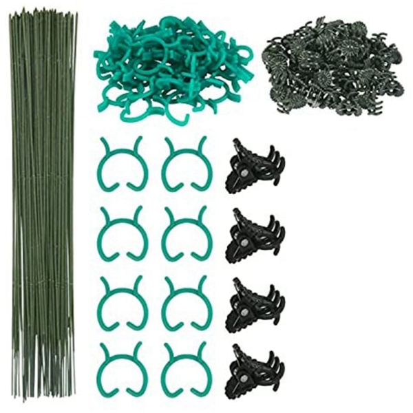 150Pcs Plant Supports Set with 50 Plant Support Sticks Stakes 50 Plant Support Clips and 50 Orchid Clips