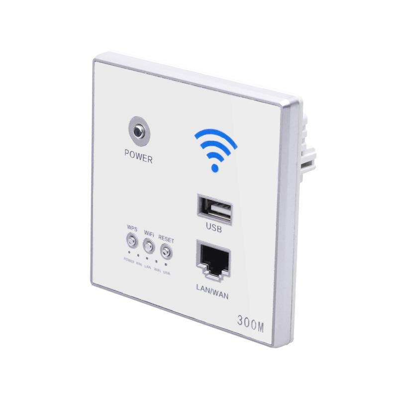 Giá 300Mbps Wall Router 110V/220V Power Ap Relay Smart Wireless Wifi Repeater Extender Wall Embedded 2.4Ghz Router Panel Usb Socket White