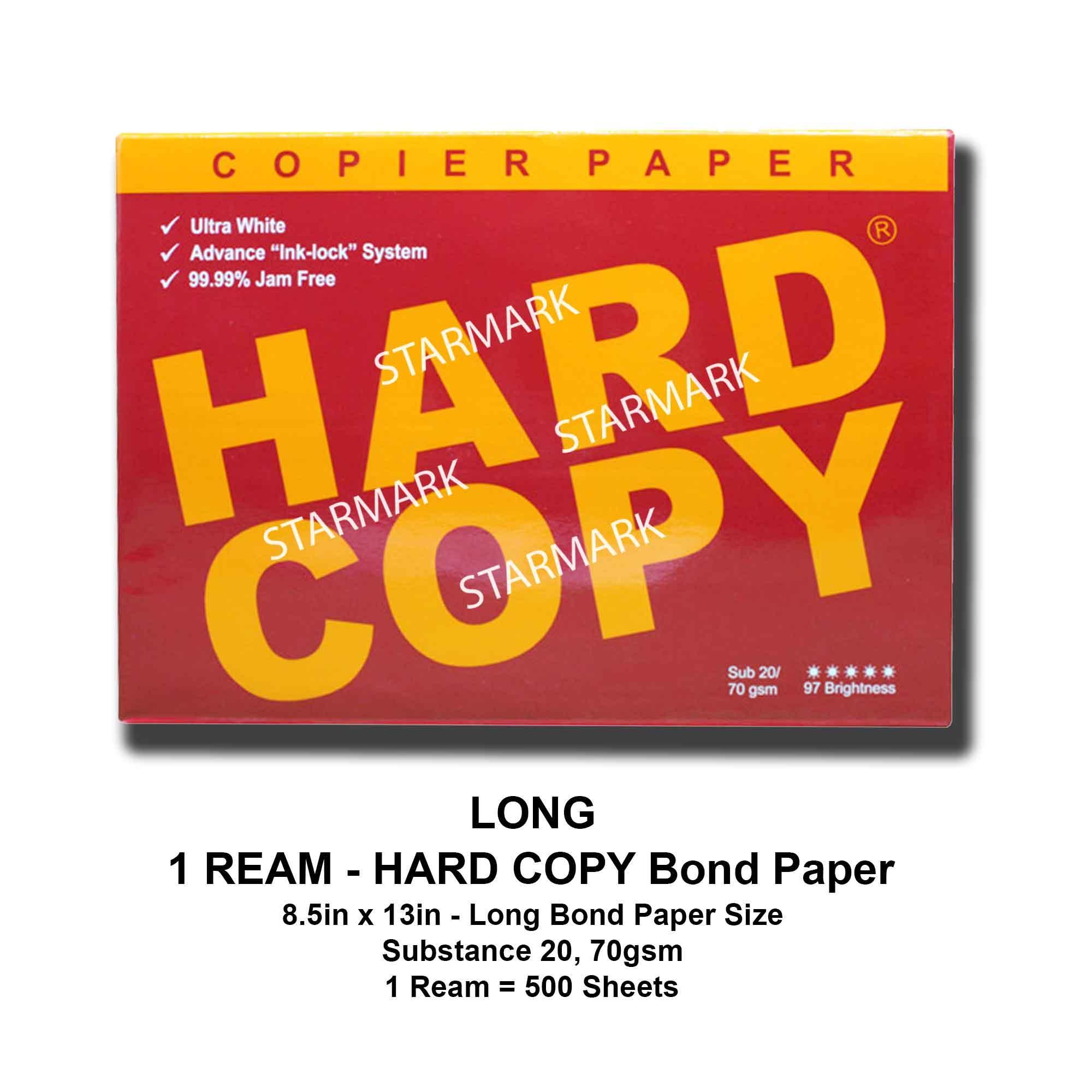 Hard Copy Bond Paper - 1 Ream Long Bond Paper Size - 8.5x13 Inches - Substance 20, 70gsm - Original - 500 Sheets By Starmark Enterprises.