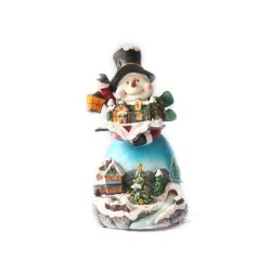 Gemsqueen Snowman Holding LED Book Small with Tree (Red)