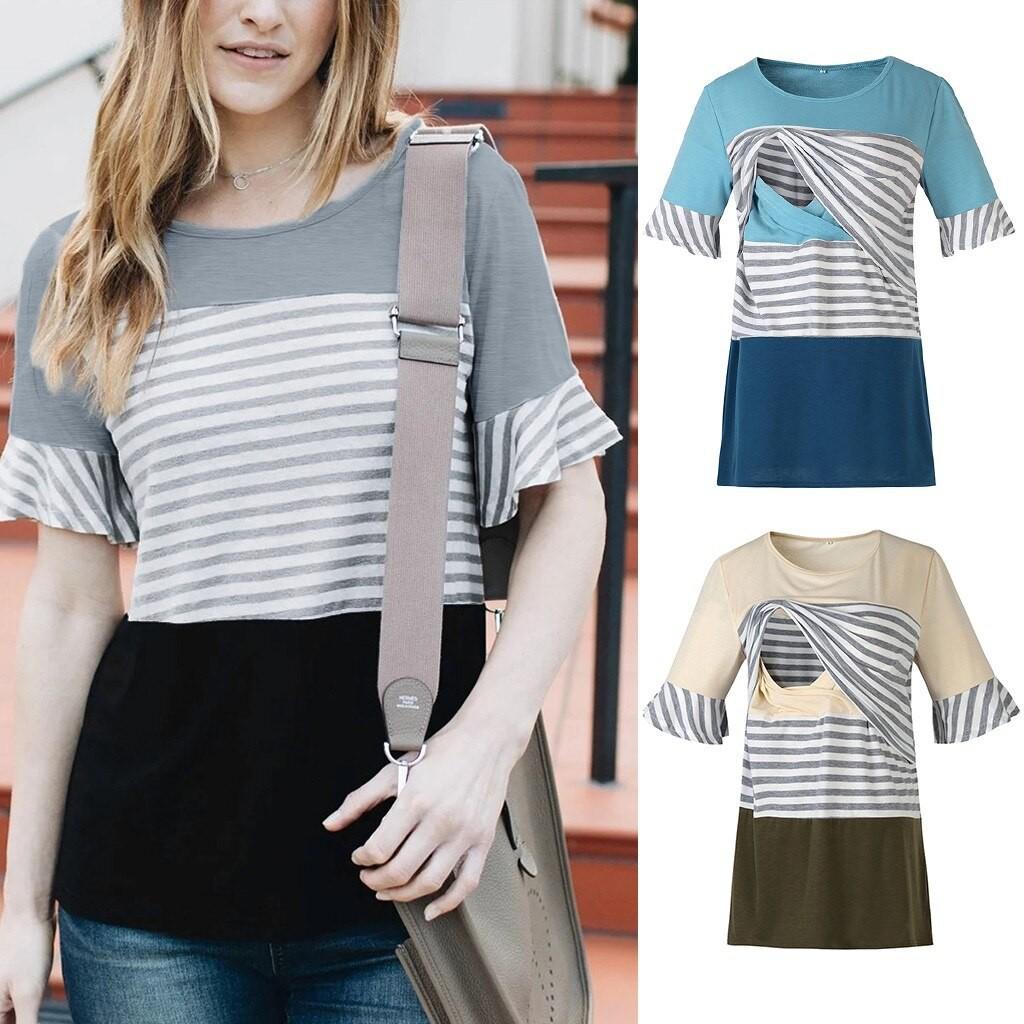 3 Color Women Breastfeeding Short Sleeve Top Nursing Stripe Floral  Blouse S-2XL