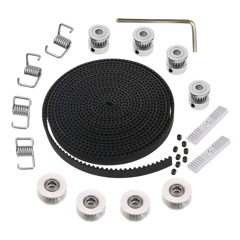 5Mx6Mm Gt2 Timing Belt +4Pcs 20 Tooth 5Mm Inner Diameter Pulley +4Pcs Idler + 4Pcs Tensioner Spring Torsion +2Pcs Gear Clamp Mount and Hex Wrench for 3D Printer