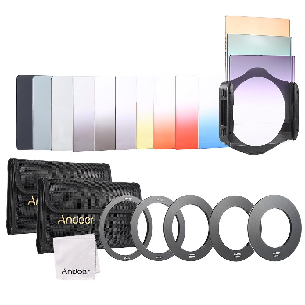 Andoer 13pcs Square Gradient Full Color Filter Bundle Kit For Cokin P Series With Filter Holder + Adapter Ring(52mm / 58mm / 62mm / 67mm / 72mm ) + Storage Bag + Cleaning Cloth.