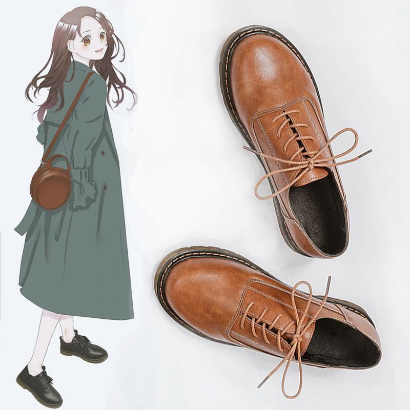 71bb65da5f643 INS Small Leather Shoes Female Vintage Lace-up Shoes Winter 2019 New Style  Korean Style Versatile College England Leather Shoes Fashion
