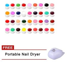 36 Pure Colors Uv Gel For Nail Extension With Free Portable Nail Dryer By Happy Choice.