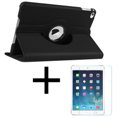 360-Degree Rotation Pu Leather Case For Apple Ipad Mini 1/2/3 (black) With Tempered Glass Screen Protector By Leslies Cellphone Accesories.