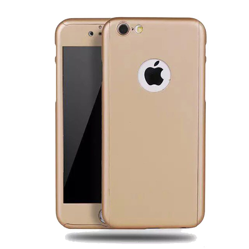 360 Degrees Full Protection Slim PC Case Cover with Tempered Glass For Apple iPhone 6 / 6s (Gold) product preview, discount at cheapest price