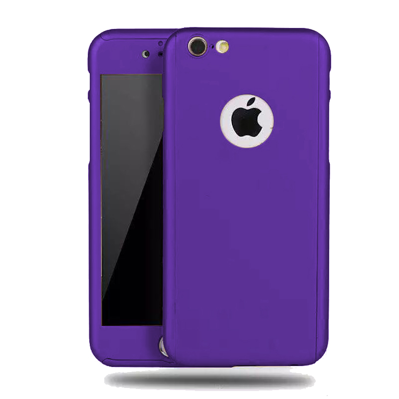 360 Degrees Full Protection Slim PC Case Cover with Tempered Glass For Apple iPhone 6 / 6s (Violet) product preview, discount at cheapest price