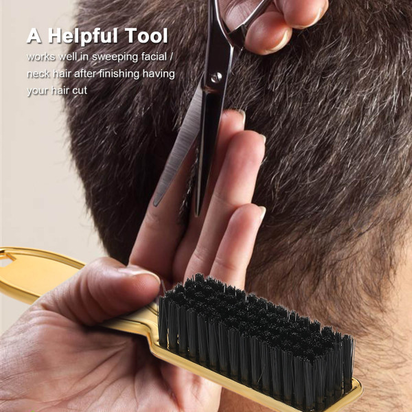 (Vàng) Bàn Chải Làm Sạch Tóc Với Tay Cầm Nhựa Thợ Cắt Tóc Chổi Phủi Tóc Không Mong Muốn Lược Cạo Lông Tạo Kiểu Tóc Dụng Cụ Làm Tóc
