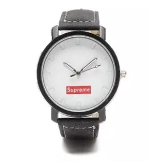 Glamorosa Supreme Minimalist Simple Smooth Black Leather Strap Watch in White