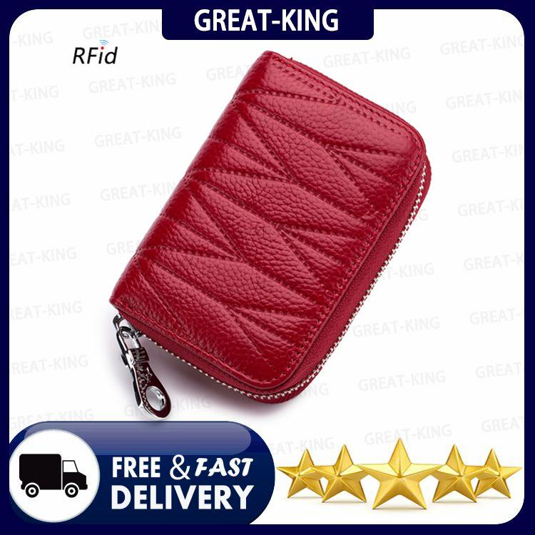 58c01a2e6139 Great-King Brand Genuine Leather Cowhide Women RFID Blocking Zipper Card  Holder Men Minimalist Travel
