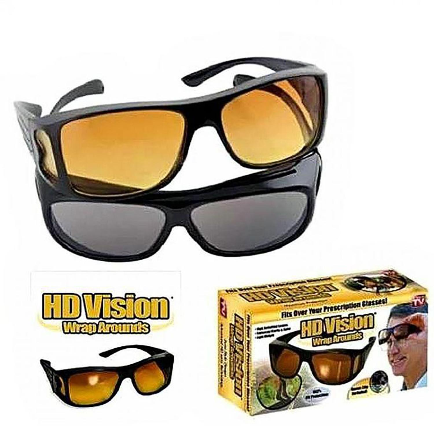 895d8753be HD Vision Anti Glare Night View Driving Glasses Wrap Around Sunglasses Set  of 2