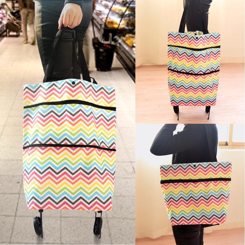 Rising Star Portable Tote Bag Folding Shopping Cart Bag With Wheels Trolley Bags Handbag Organizer By Rising Star.