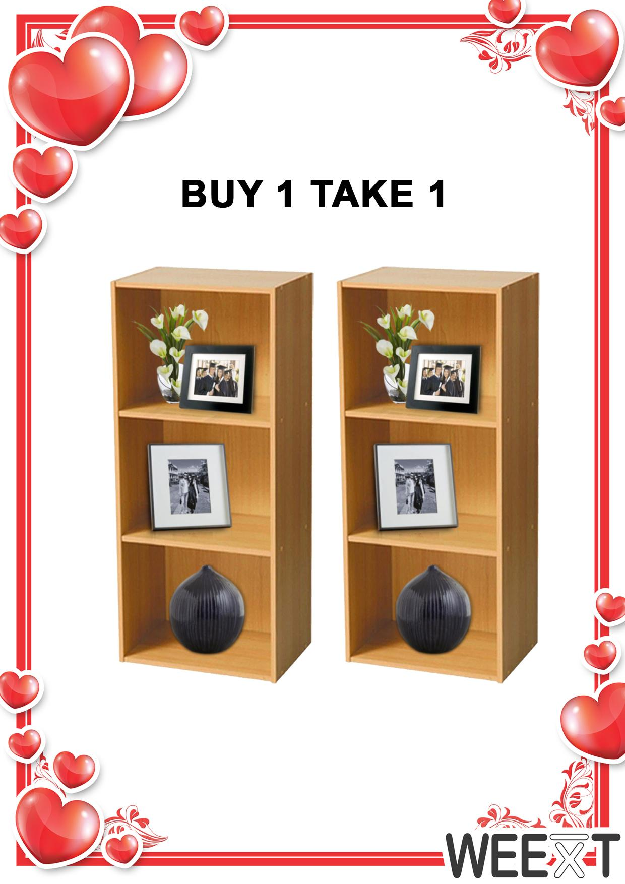 Weext buy 1 take 1 wooden bookcase 3 layer shelf