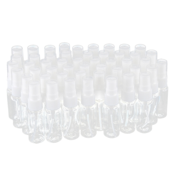 Buy 50-pack Empty Clear Plastic Fine Mist Spray Bottles with Microfiber Cleaning Cloth, 20ml Refillable Container Perfect for Cleaning Solutions, Oils, Air Freshener, Toner and More Singapore
