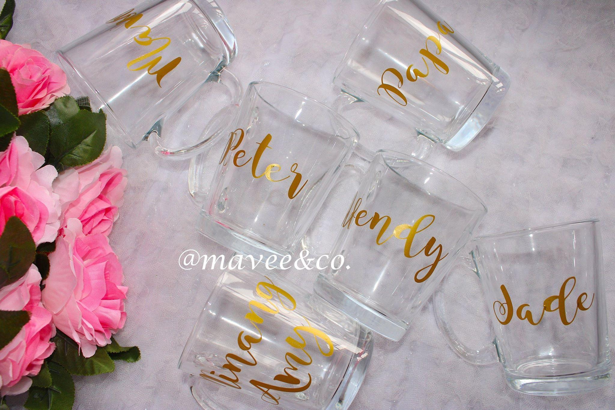 Product details of personalized clear mug with decal sticker
