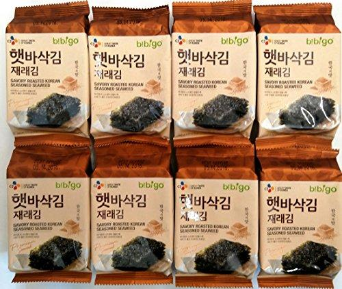 8 Packs CJ Bibigo Savory Roasted Seasoned Seaweed Snack 5g