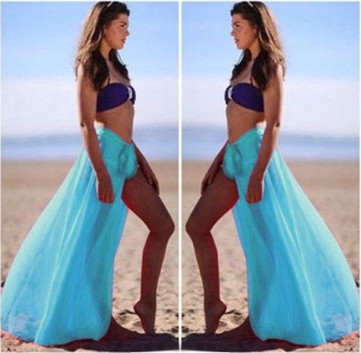 b8114d6012 Stylish Sexy Women Bikini Cover Up Swimwear Sheer Beach Maxi Wrap Pretty  Many S Skirt