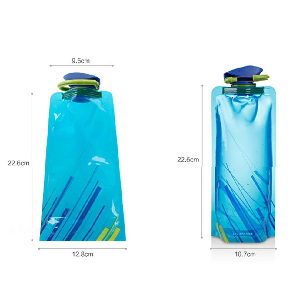 Foldable Plastic Light Water Bag Pouch Bladder for Outdoor Activity 1L Blue