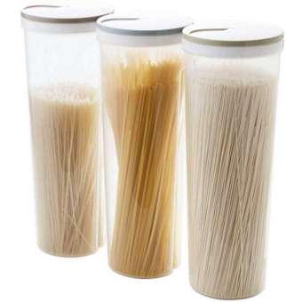 3 pcs Tall Food Storage Cylinder Shaped Spaghetti Noodle Container Box for Grain Cereal Oatmeal Nuts Beans-
