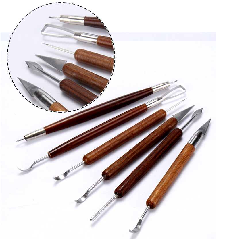 6pcs Clay Sculpting Set Wax Carving Pottery Tools Shapers Polymer Modeling //AC