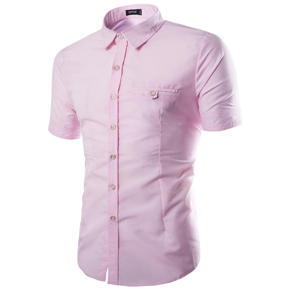ab5a1c4ff8b Men Fashion Short sleeve Polo shirts Checked Pattern Business Formal T-shirt  short sleeve Slim