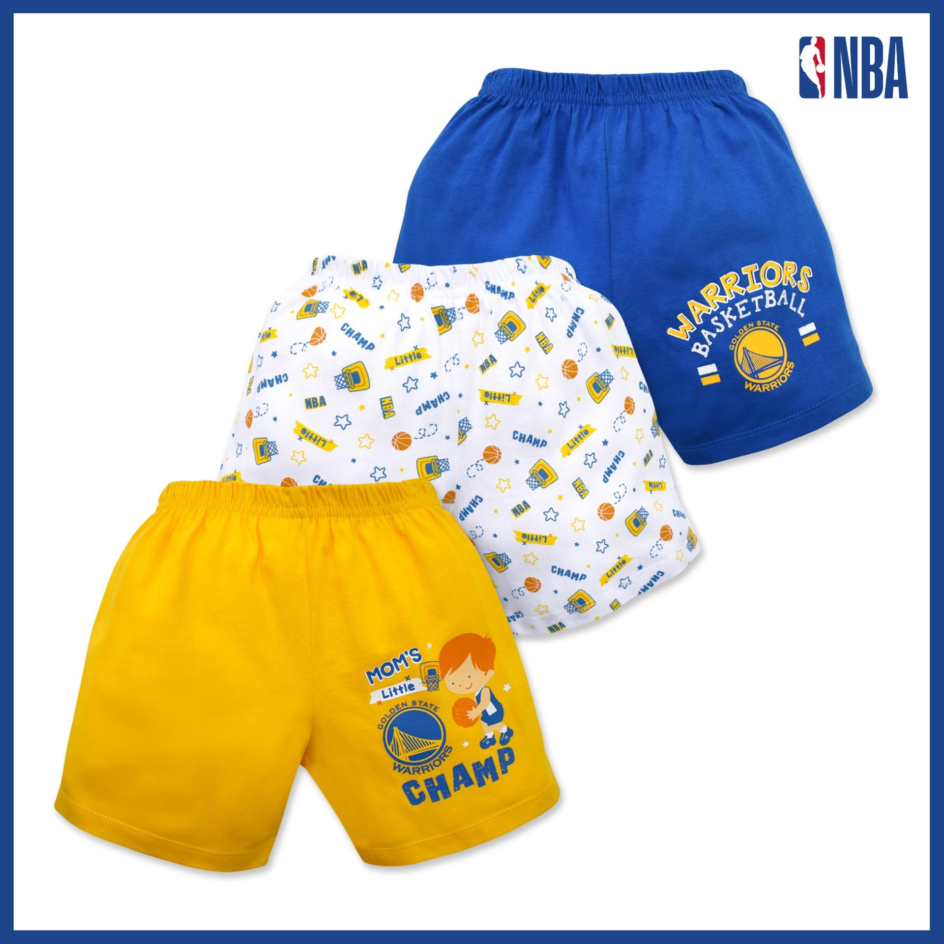 Nba Baby - 3-Piece Shorts (moms Little Champ - Warriors) By Cotton Stuff.