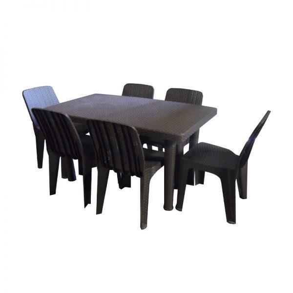 Plastic Rattan Style Dining Set