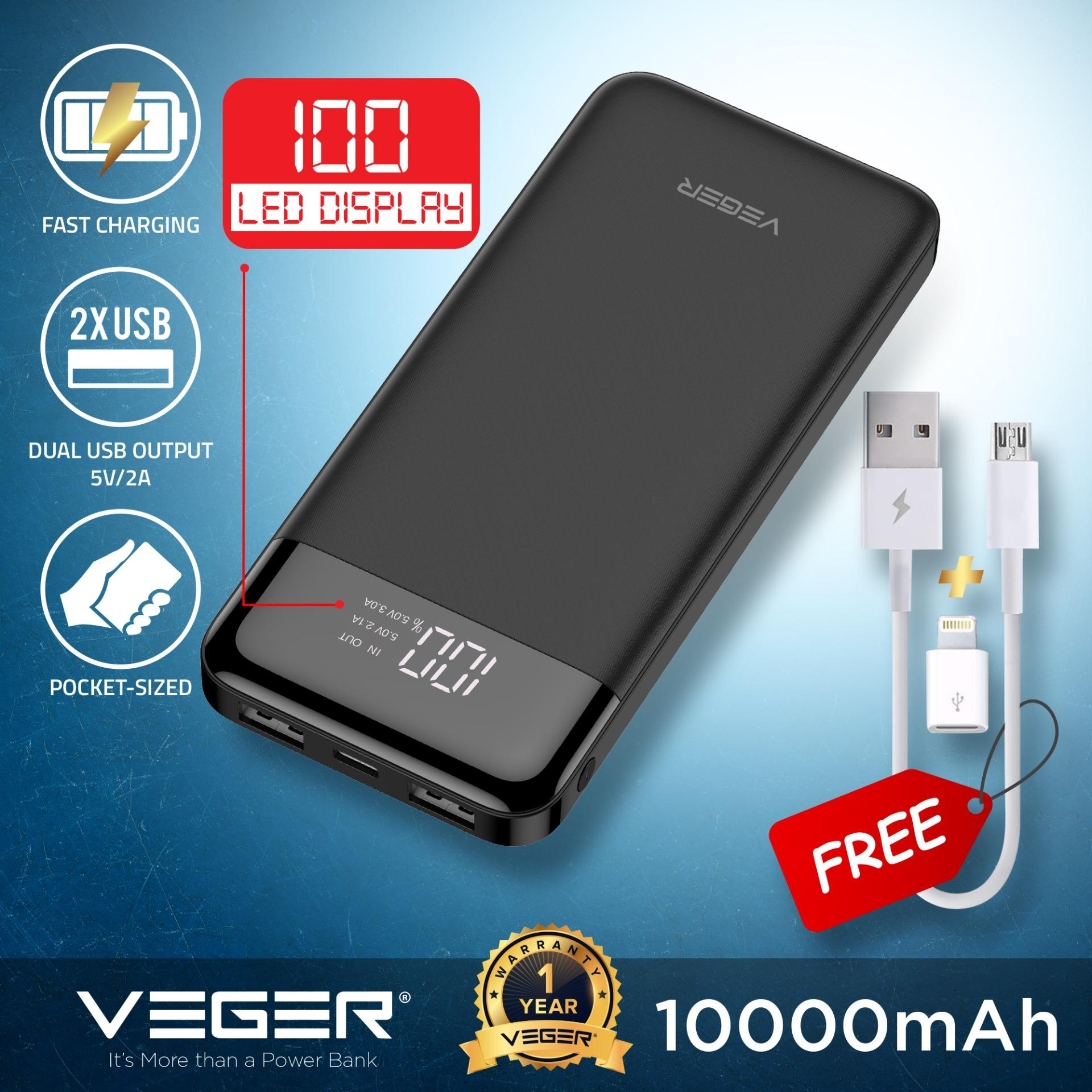 powerbank veger vp1056 10000mah slim compact fast charge power bank ismart dual 2 0 usb output with led display external battery compact portable  led bar display battery power indicator