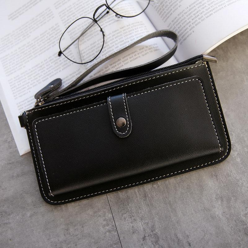 AMOG New Fashion Lady Purse PU Leather Wallet Zipper Wallet Purse Fashion Card Holder Phone Bag