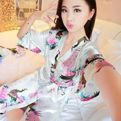 Ice silk nightdress female summer silk pajamas female sense nightdress robe  fun retro kimono tie b55ba52913ed