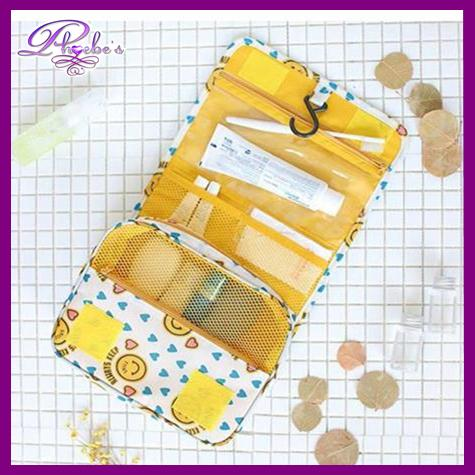 f26a8c2aee Phoebe s Travel Toiletry Pouch Daily Essentials Organizer with hook (Happy  smiley)