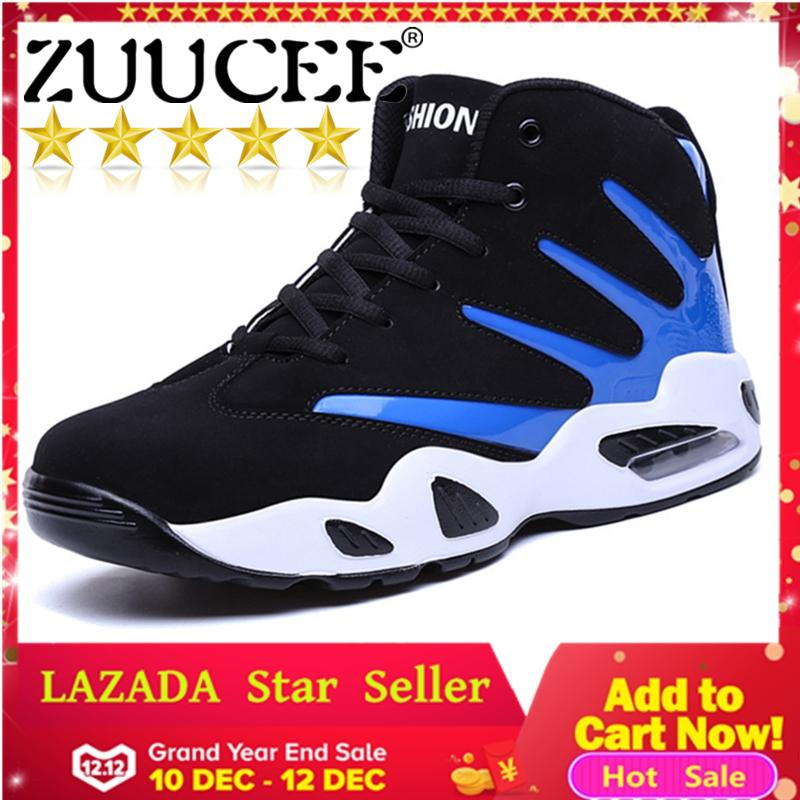 ZUUCEE Men Winter High-top Basketball Shoes Air Causion Sports Sneakers(blue black)