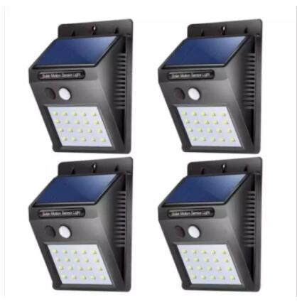 4pcs 20 Led Solar Lights Outdoor, Waterproof Solar Powered Motion Sensor Light Wireless Security Lights Outside Wall Lamp For Driveway Patio Garden Path By Happyeverday.