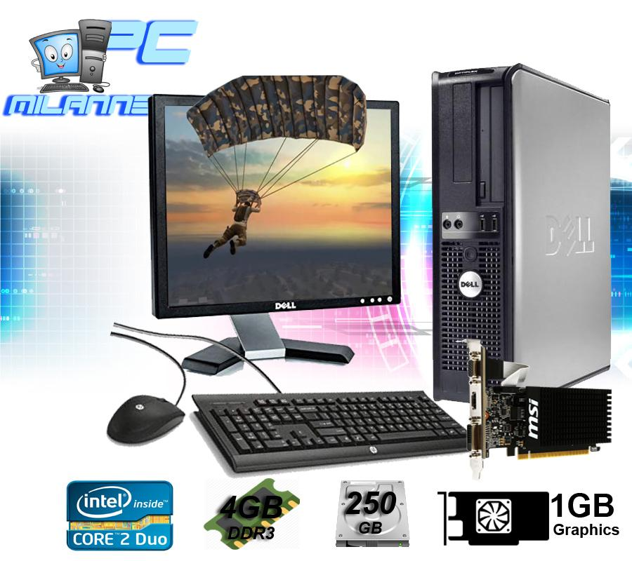 (Gaming PC) Dell Desktop Computer Set, Dell Monitor 17 Inch, Core2Duo, 4GB  RAM, 250GB HDD,1GB Graphics Card Slim type Desktop Computer
