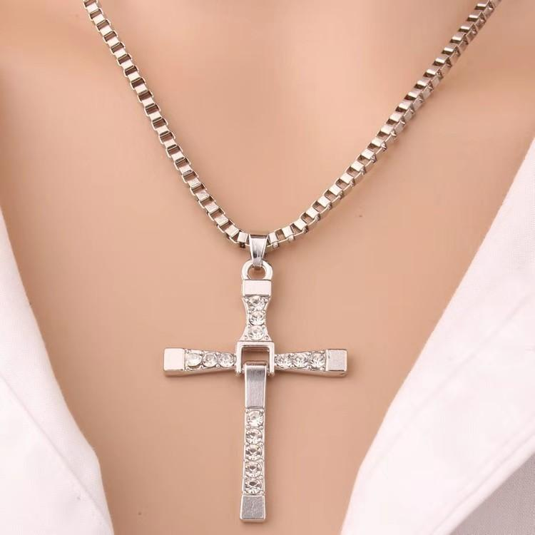NEW TIME Men Jewelry SILVER Plated Necklace Cross#S70