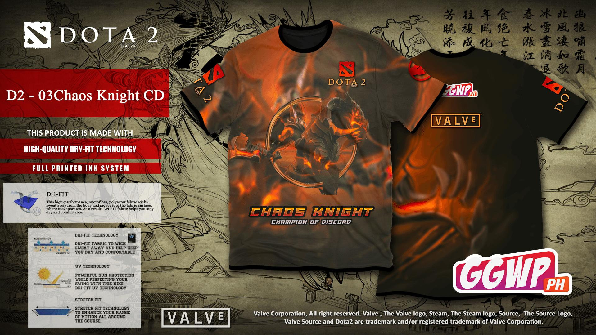 GGWP - Dota 2 Full Printed High Quality Dry-Fit Tshirt Jersey - (Chaos  Knight)