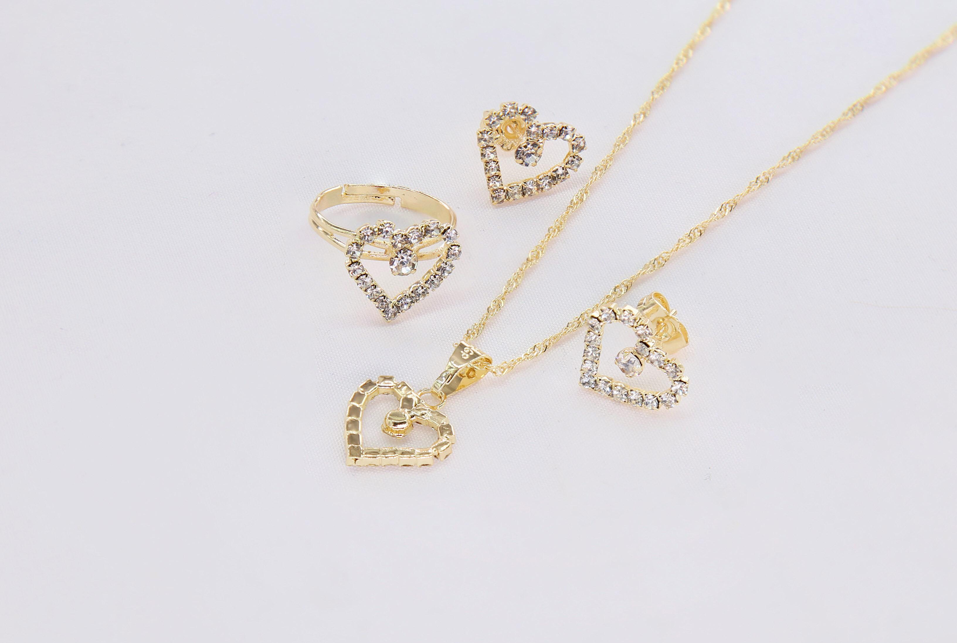 5eed726fd DS Korea design style party wedding fashion luxury ladies heart  necklace,ring,,earring
