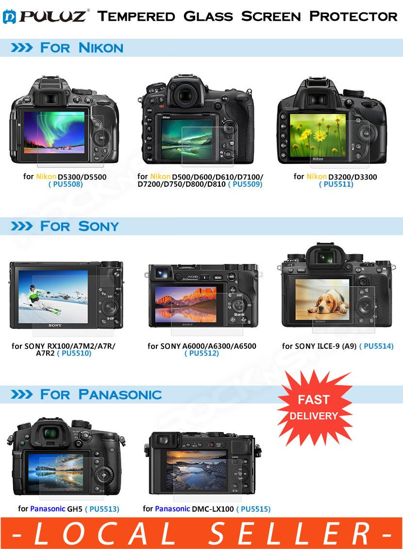 PULUZ Tempered Glass Screen Protector for Nikon Sony Panasonic D5300 D5500 D5600 D500 D600 D610 D7100