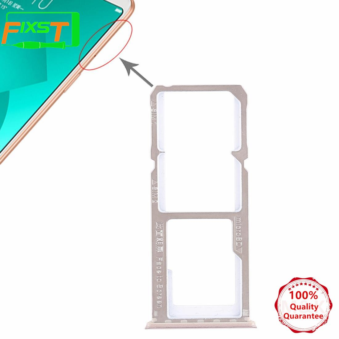 MK Vivo V5 Dual Sim Card Tray and Micro SD Card Slot Holder Replacement In  Gold Golden Color with Nano Sim Adapter